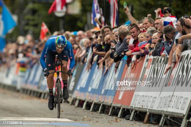 Italy's Filippo Ganna crosses the line to finish third in the Elite Men Individual Time Trial, over 54 kms from Northallerton to Harrogate, at the...