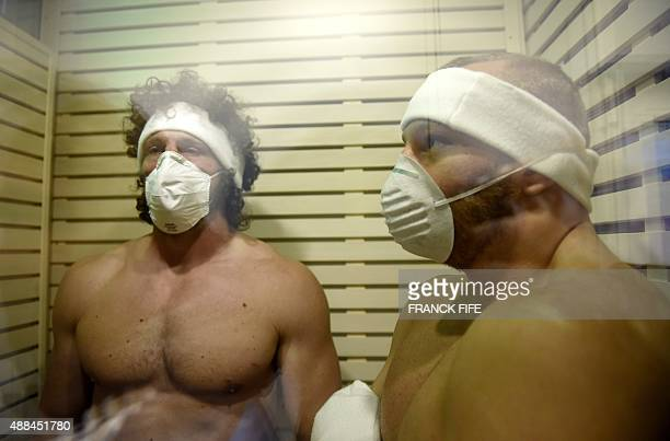 Italy's flanker Mauro Bergamasco stands in a cryotherapy chamber at the University of Surrey in Guildford south England on September 16 2015 2015...