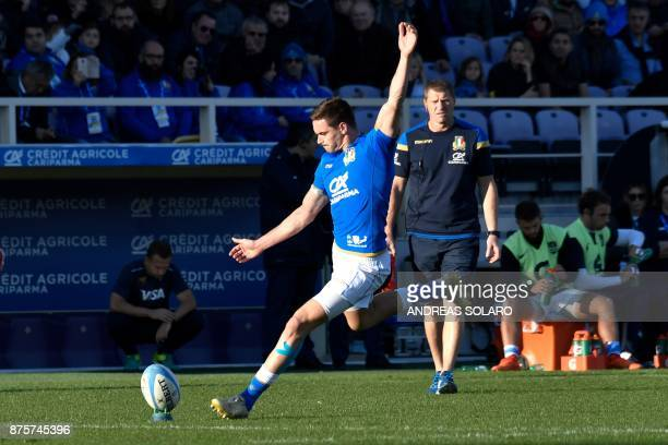 Italy's flyhalf Carlo Canna kicks and scores a penalty during the International Rugby Union Test match between Italy and Argentina at the Artemio...