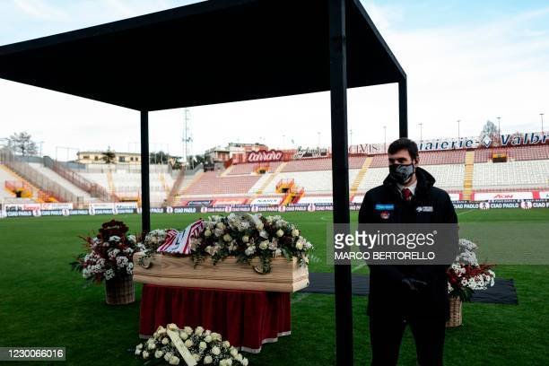 Italys football player Paolo Rossi coffin is on public display in a final farewell at the Romeo Menti stadium in Vicenza, Northeastern Italy, on...