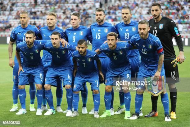 Italy's football players midfielder Antonio Candreva defender Matteo Darmian forward Lorenzo Insigne midfielder Claudio Marchisio midfielder Daniele...