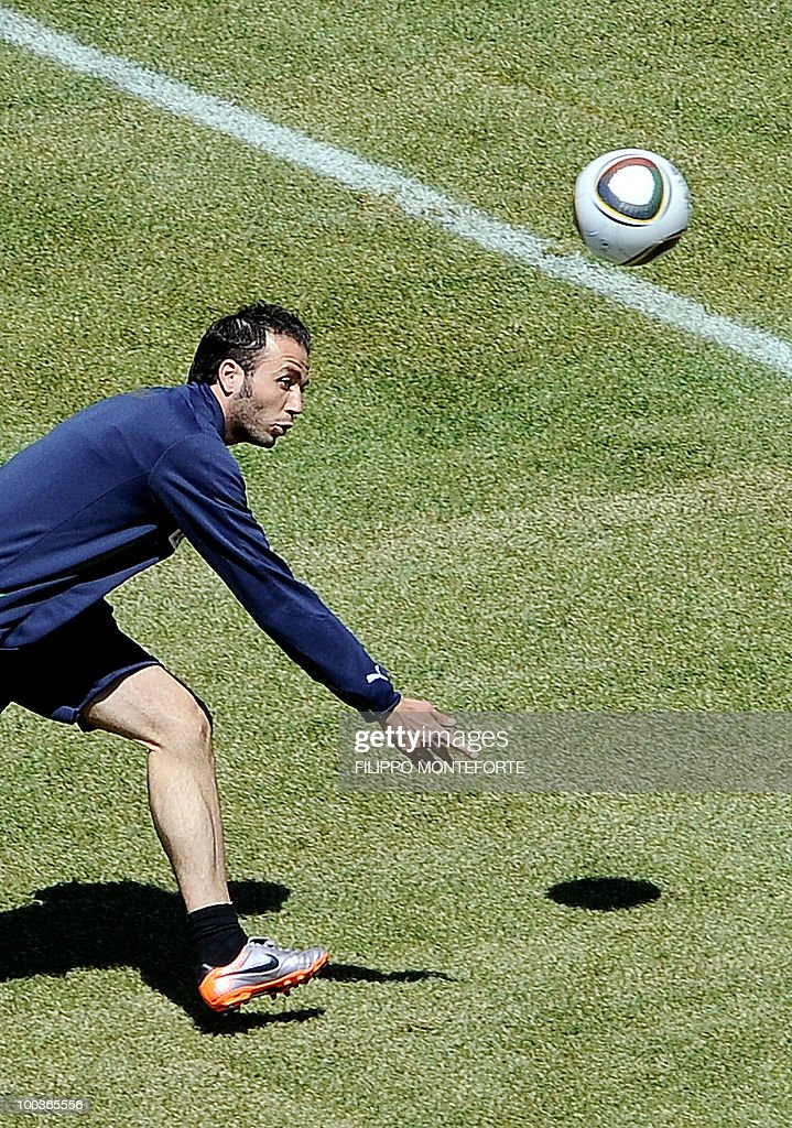 Italy's football team forward Gianpaolo Pazzini plays with a ball during a training camp in Sestriere on May 24, 2010 ahead of the 2010 FIFA World Cup in South Africa. AFP PHOTO / Filippo MONTEFORTE