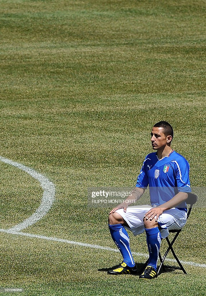 Italy's football team midfielder Angelo Palombo poses on May 26, 2010 for an official team picture in Sestriere, where the squad is holding a training camp ahead of the 2010 FIFA World Cup in South Africa. AFP PHOTO / Filippo MONTEFORTE