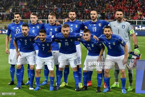 Italy's football team players Italy's defender Davide Zappacosta Italy's forward Andrea Belotti Italy's forward Ciro Immobile Italy's defender Andrea...