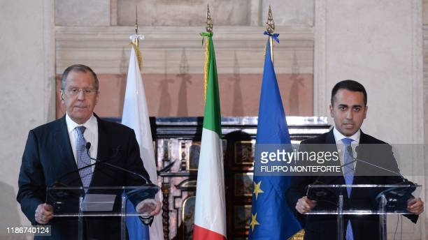Italy's Foreign Minister Luigi Di Maio and his Russian counterpart Sergei Lavrov hold a joint press conference on December 6, 2019 following their...