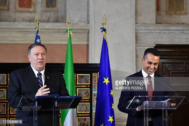 Italy's Foreign Minister Luigi Di Maio and US Secretary of State Mike Pompeo hold a joint press conference following their meeting at Villa Madama in...