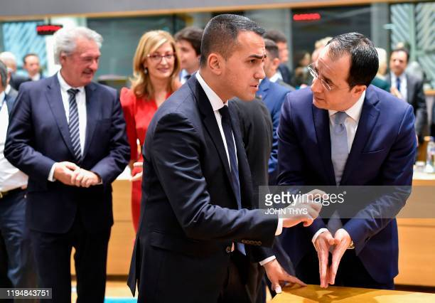 Italy's Foreign Minister Luigi Di Maio l talks with Cyprus Foreign Minister Nikos Christodoulides during a Foreign Affairs meeting at the EU...