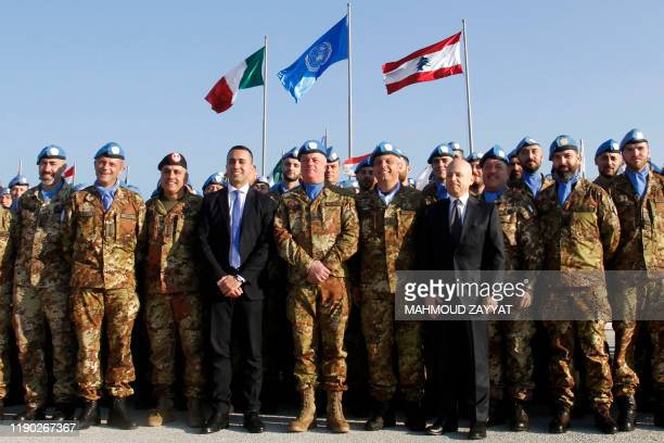 Italy's Foreign Minister Luigi Di Maio poses for a group picture as he visits his country's contingent in the UN Interim Force in Lebanon while...
