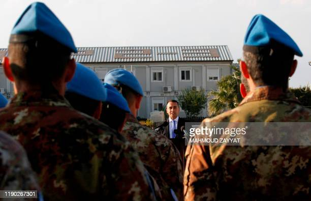 Italy's Foreign Minister Luigi Di Maio speaks during his visit to his country's contingent in the UN Interim Force in Lebanon ahead of Christmas at...