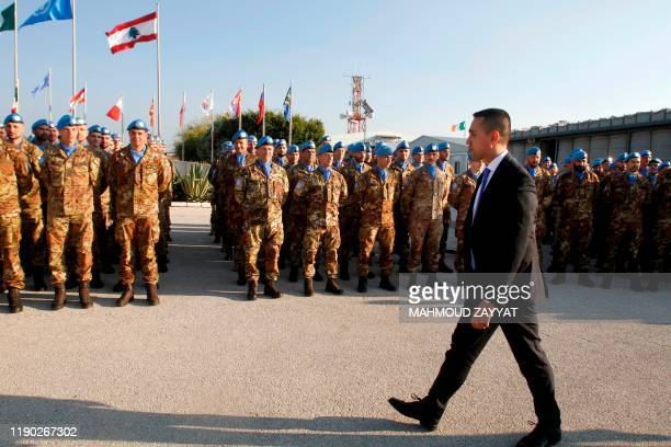 Italy's Foreign Minister Luigi Di Maio visits his country's contingent in the UN Interim Force in Lebanon ahead of Christmas at the mission...