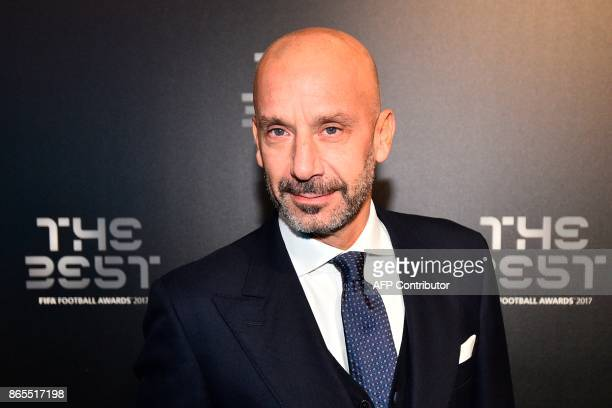 Italy's former player Gianluca Vialli poses for a photograph as he arrives for The Best FIFA Football Awards ceremony on October 23 2017 in London /...