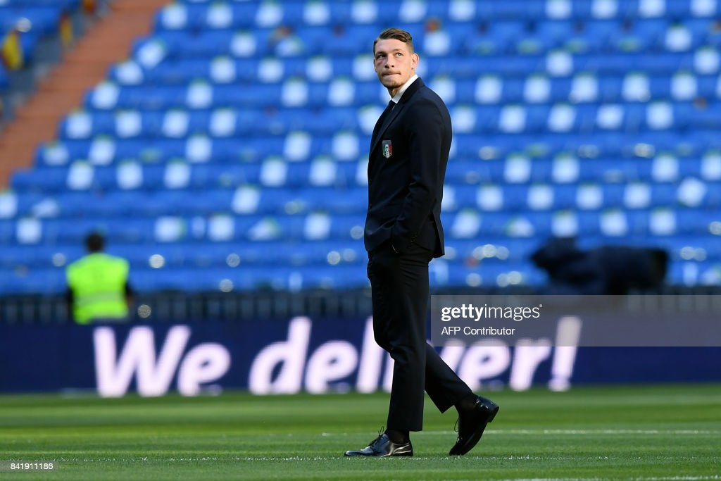 Italy's forward Andrea Belotti walks on the pitch before the World Cup 2018 qualifier football match Spain vs Italy at the Santiago Bernabeu stadium in Madrid on September 2, 2017. /