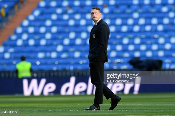 Italy's forward Andrea Belotti walks on the pitch before the World Cup 2018 qualifier football match Spain vs Italy at the Santiago Bernabeu stadium...