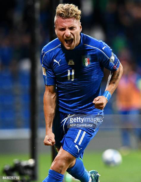 Italy's forward Ciro Immobile celebrates after scoring a goal during the FIFA World Cup 2018 qualification football match between Italy and Israel in...