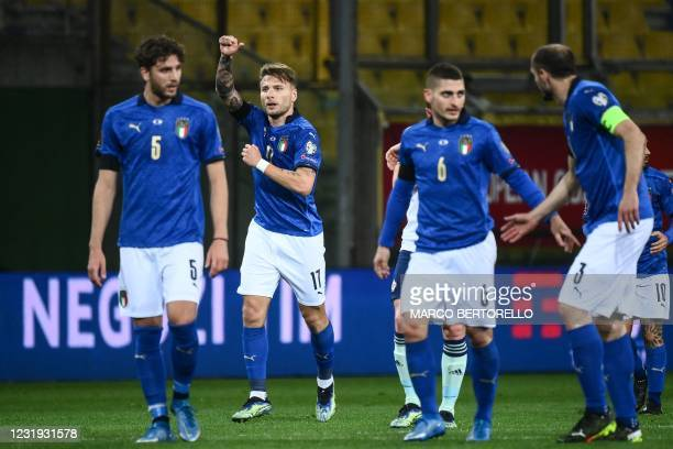 Italy's forward Ciro Immobile celebrates after scoring the second goal during the FIFA World Cup Qatar 2022 Group C qualification football match...