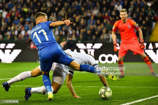 Italy's forward Ciro Immobile controls the ball during the Euro 2020 Group J qualifying football match between Italy and Finland on March 23 2019 at...