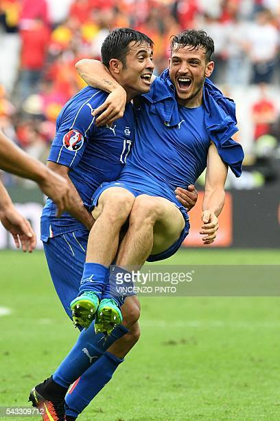 Italy's forward Citadin Martins Eder and Italy's midfielder Alessandro Florenzi celebrate after the Euro 2016 round of 16 football match between...