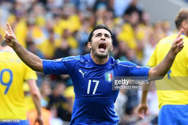 TOPSHOT Italy's forward Citadin Martins Eder celebrates after scoring during the Euro 2016 group E football match between Italy and Sweden at the...