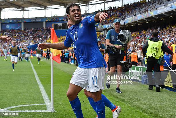 Italy's forward Citadin Martins Eder celebrates scoring a goal during the Euro 2016 group E football match between Italy and Sweden at the Stadium...