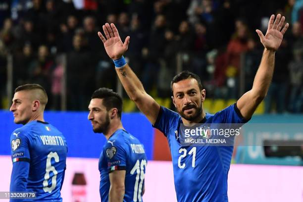 Italy's forward Fabio Quagliarella celebrates after scoring a penalty during the Euro 2020 Group J qualifying football match Italy vs Liechtenstein...