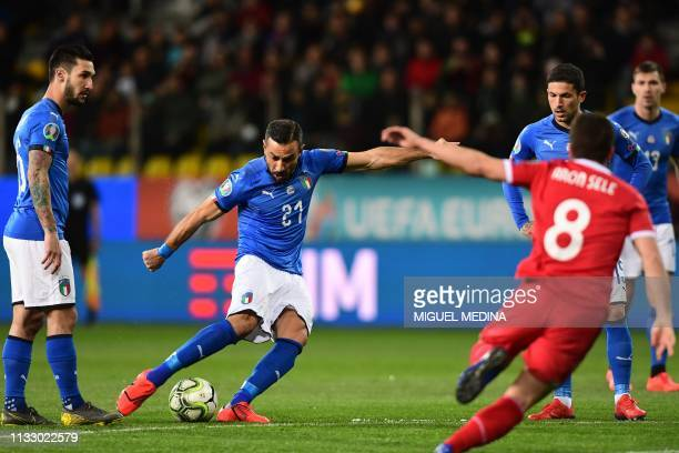 Italy's forward Fabio Quagliarella shoots on goal during the Euro 2020 Group J qualifying football match Italy vs Liechtenstein on March 26 2019 at...