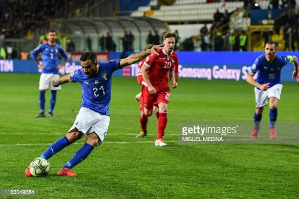 Italy's forward Fabio Quagliarella shoots to score his second penalty during the Euro 2020 Group J qualifying football match Italy vs Liechtenstein...