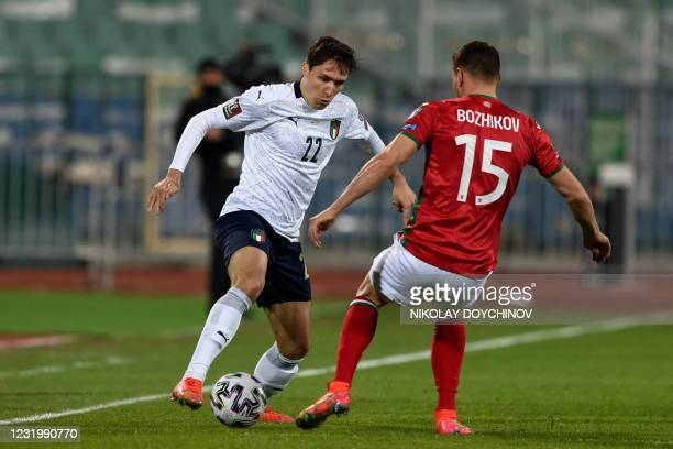 Italy's forward Federico Chiesa controls the ball during the FIFA World Cup Qatar 2022 qualification Group C football match between Bulgaria and...