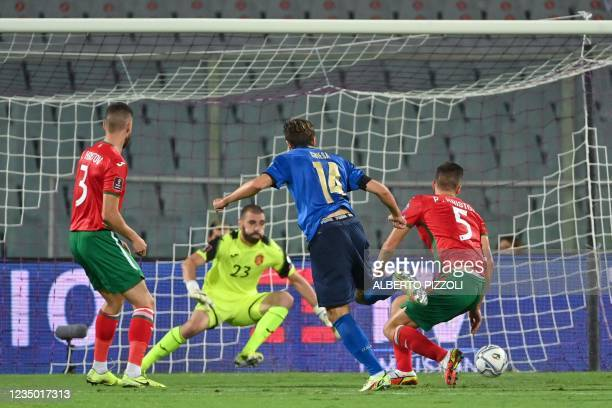 Italy's forward Federico Chiesa scores a goal during the FIFA World Cup Qatar 2022 qualifying round Group C football match between Italy and Bulgaria...