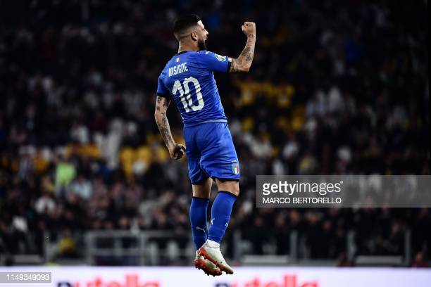 Italy's forward Lorenzo Insigne celebrates after scoring during the UEFA Euro 2020 qualification football match between Italy and Bosnia Herzegovina...