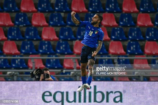 Italy's forward Lorenzo Insigne celebrates after scoring the third goal on June 04, 2021 during the international friendly football match between...