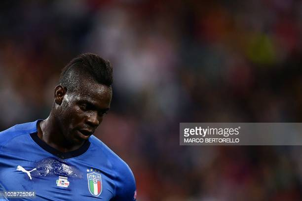 TOPSHOT Italy's forward Mario Balotelli looks on during the UEFA Nations League football match between Italy vs Poland at Renato Dall'Ara Stadium in...