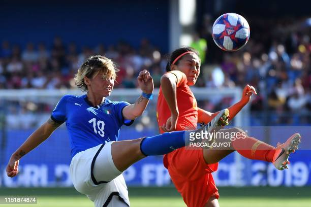 Italy's forward Valentina Giacinti vies with China's defender Shanshan Liu during the France 2019 Women's World Cup round of sixteen football match...