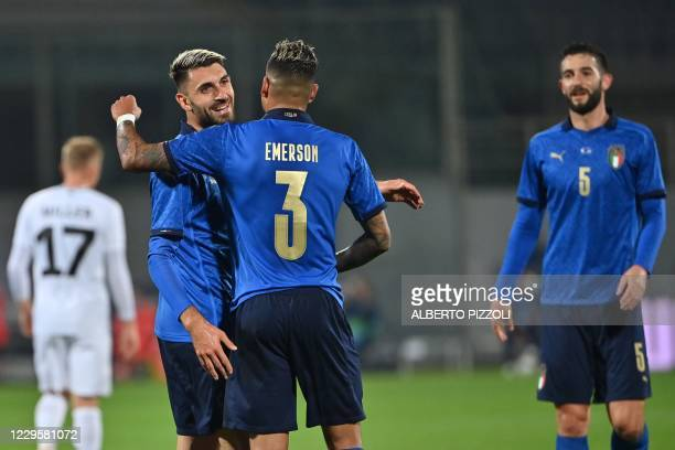 Italy's forward Vincenzo Grifo celebrates with Italy's defender Emerson after opening the scoring during the friendly soccer match Italy vs Estonia...