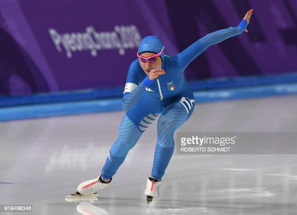 Italy's Francesca Lollobrigida competes in the women's 3,000m speed skating event during the Pyeongchang 2018 Winter Olympic Games at the Gangneung...