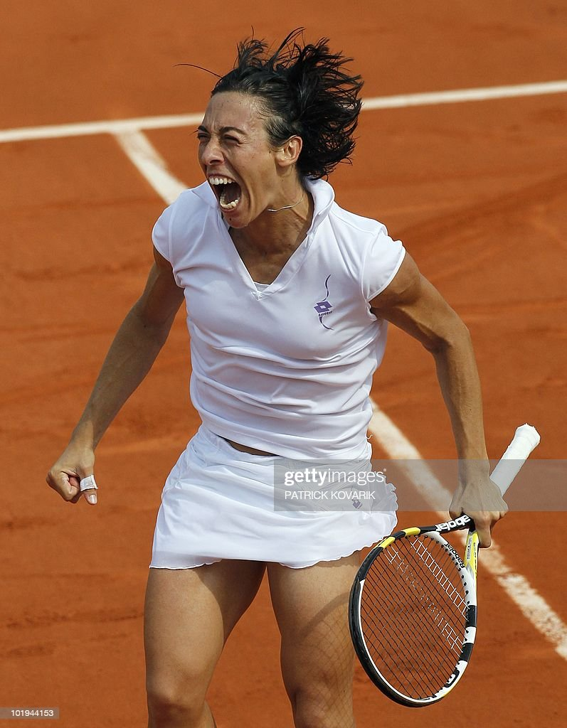Italy's Francesca Schiavone reacts after she defeated Australia's Samantha Stosur at the end of their women's final match in the French Open tennis championship at the Roland Garros stadium, on June 5, 2010, in Paris. Schiavone won 6-4, 7-6.