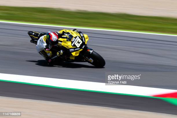 Italy's Francesco Bagnaia rides his Ducati during the second free practice session for the Italian Moto GP Grand Prix at the Mugello race track on...