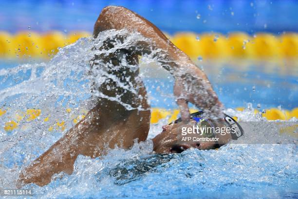 TOPSHOT Italy's Gabriele Detti competes in a men's 400m freestyle heat during the swimming competition at the 2017 FINA World Championships in...