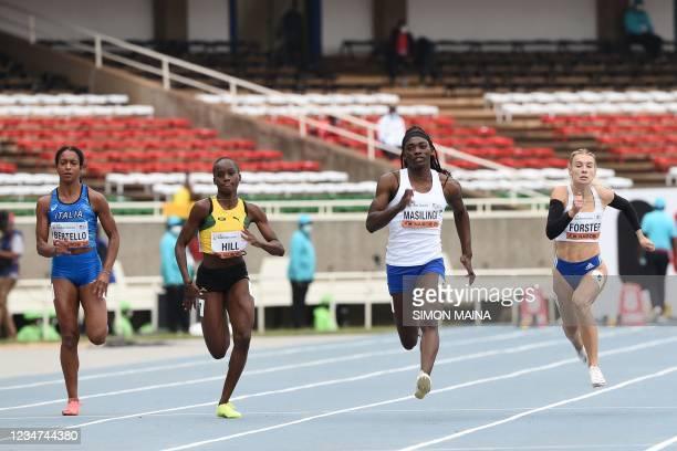 Italy's Gaya Bertello, Jamaica's Kerrica Hill, Namibia's Beatrice Masilingi and Slovakia's Viktoria Forster competes in the semi-final of the women's...