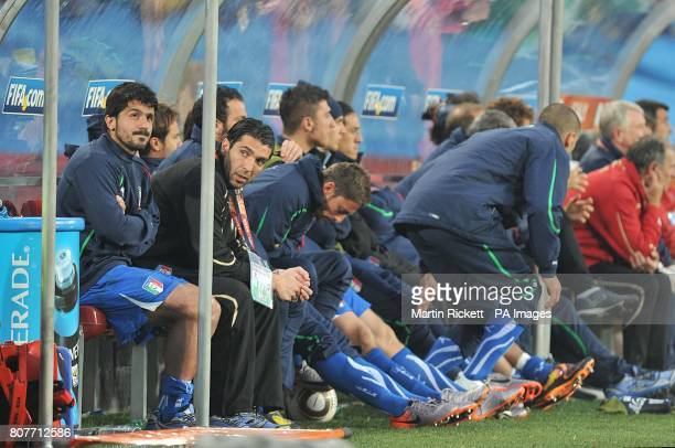 Italy's Gennaro Gattuso sat in the dugout after being substituted