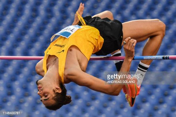 Italy's Gianmarco Tamberi competes in the Men's High Jump during the IAAF Diamond League competition on June 6 2019 at the Olympic stadium in Rome