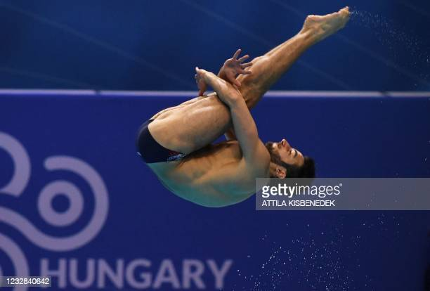 Italy's Giovanni Tocci competes in the preliminary for the Men's 1m Springboard Diving event during the LEN European Aquatics Championships at the...