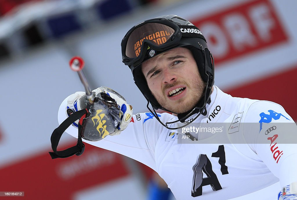 Italy's Giuliano Razzoli reacts after competing at the second run of the FIS World Cup men's slalom race on January 27, 2013 in Kitzbuehel, Austrian Alps. Marcel Hirscher placed first, German Felix Neureuther placed second and Croatian Ivica Kostelic placed third.