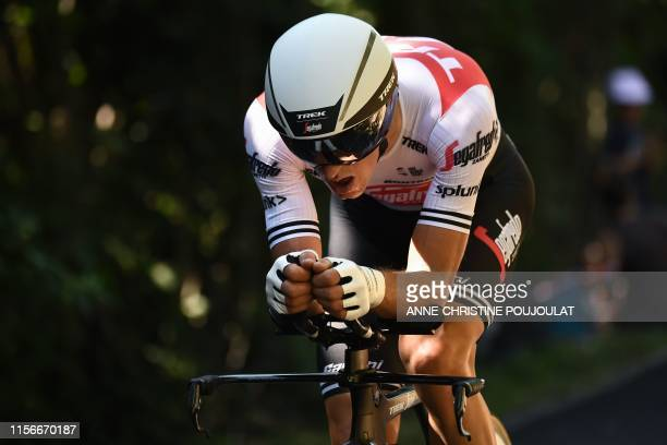 Italy's Giulio Ciccone rides during the thirteenth stage of the 106th edition of the Tour de France cycling race, a 27,2-kilometer individual...