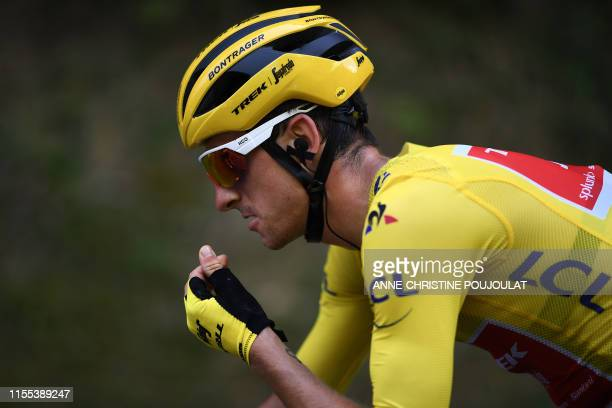 Italy's Giulio Ciccone, wearing the overall leader's yellow jersey rides during the eighth stage of the 106th edition of the Tour de France cycling...