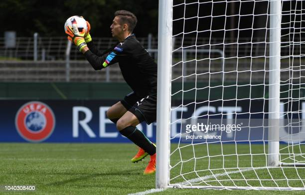 Italy's goalkeeper Alex Meret in action during the UEFA European Under19 Championship soccer match between Italy and Austria in the Stadion an der...
