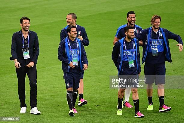 Italy's goalkeeper and captain Gianluigi Buffon Italy's forward Citadin Martins Eder Italy's defender Leonardo Bonucci Italy's midfielder Marco...
