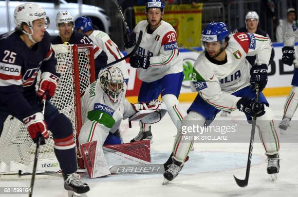 Italy´s goalkeeper Andreas Bernard guards his goal during IIHF Icehockey world championship first round match between USA and Italy in the LANXESS...