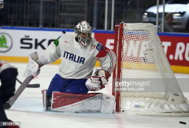 Italy´s goalkeeper Andreas Bernard watches the puck during IIHF Icehockey world championship first round match between USA and Italy in the LANXESS...