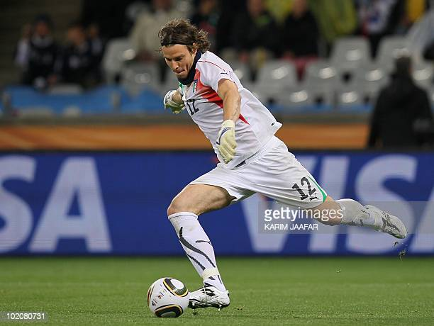 Italy's goalkeeper Federico Marchetti kicks the ball during the Group F first round 2010 World Cup football match Italy vs Paraguay on June 14 2010...