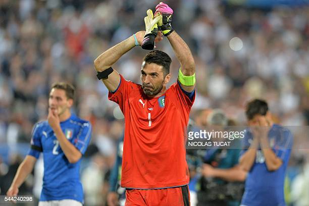 Italy's goalkeeper Gianluigi Buffon acknowledges the crowds after Italy lost in the penalty shoot-out to Germany in the Euro 2016 quarter-final...